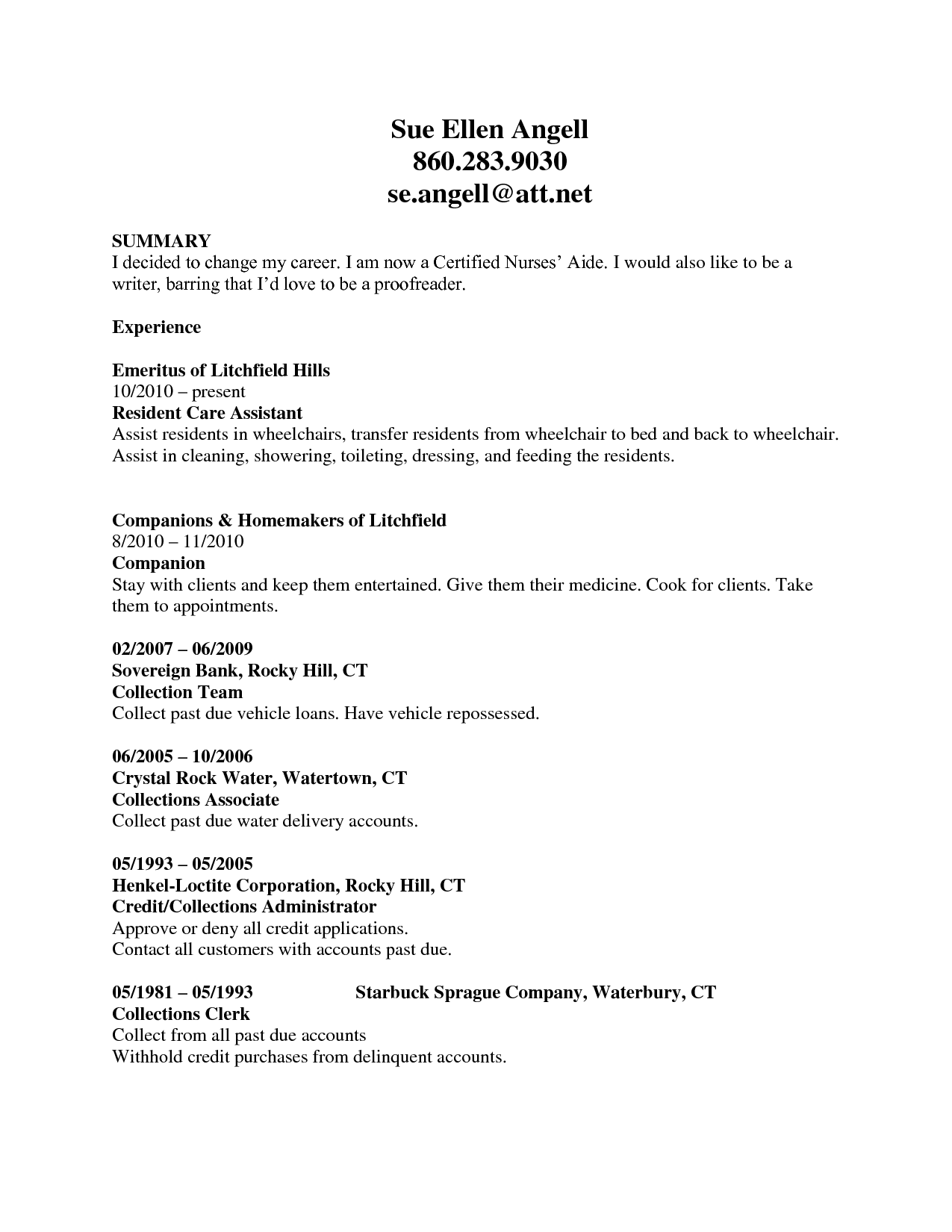 CNA Resume Example: Click To Zoom  Summary Of Skills Resume