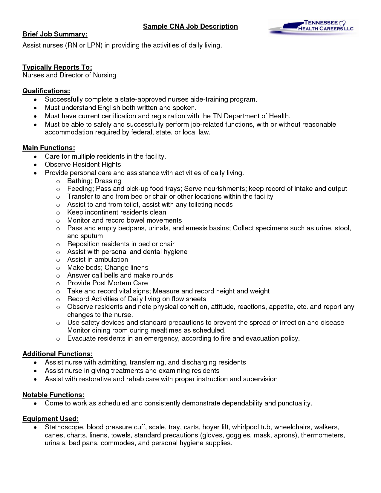 sample cna job description - Cna Template Resume